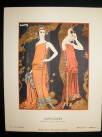 Gazette du Bon Ton by Barbier 1923 Art Deco Lithograph. Sanguines